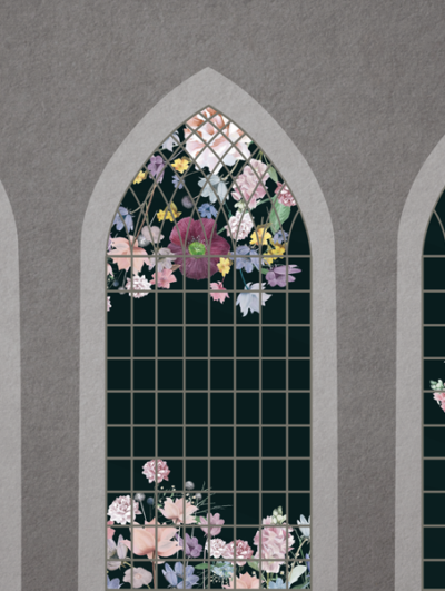 Victorian garden dark wallpaper mural