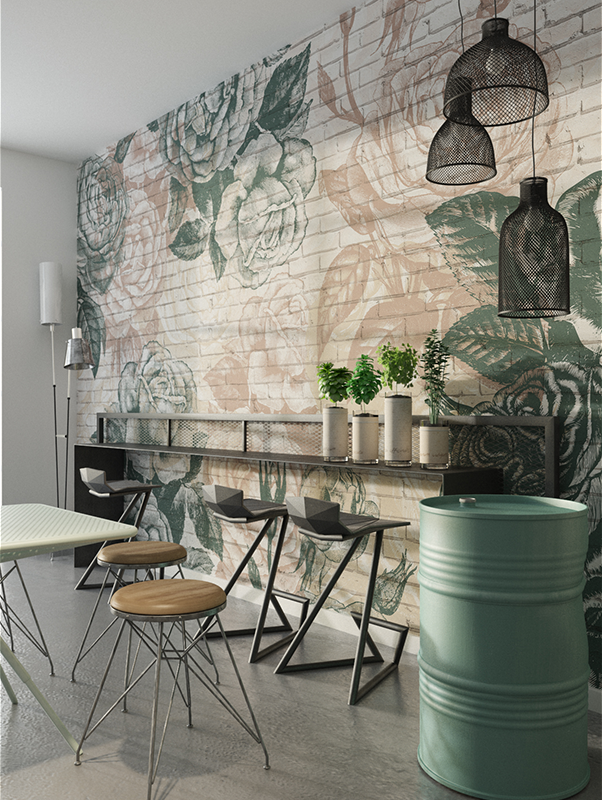 Bricks Roses Wallpaper Mural